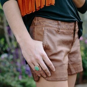 Pilcro Anthropologie Quilted Vegan Leather Shorts